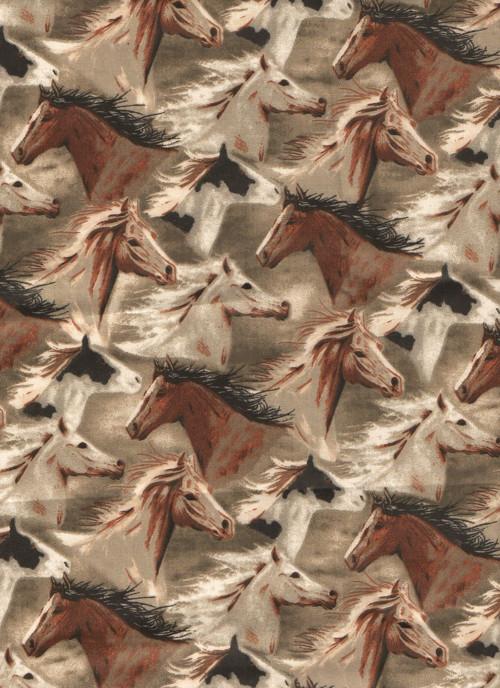 Látka s potiskem, stádo koní