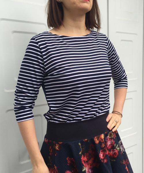 sweetheart tričko s lodičkou - modrobílé
