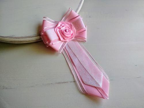 Dámská kravata/brož pod límeček Růžová