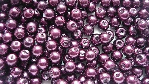 Voskové perly průměr 6mm 20 ks barva vínová