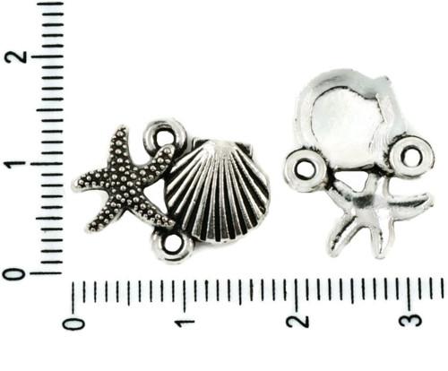 12ks Starožitné Stříbro Tón Hvězdičkový Sea Shell