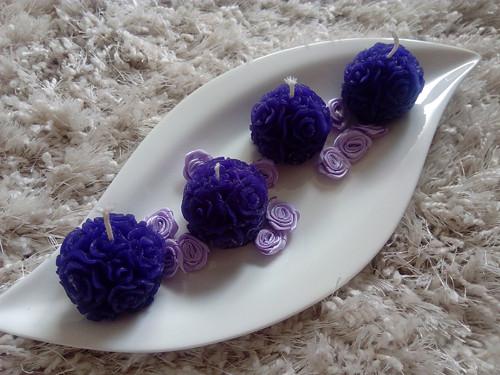 Svíčky LILA- plná růžičkových květů 4cm