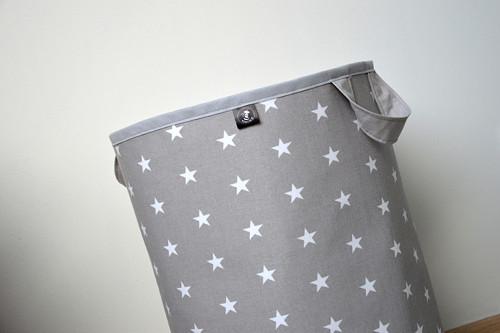 Maxi látkový koš na prádlo/hračky hvězdy šedý