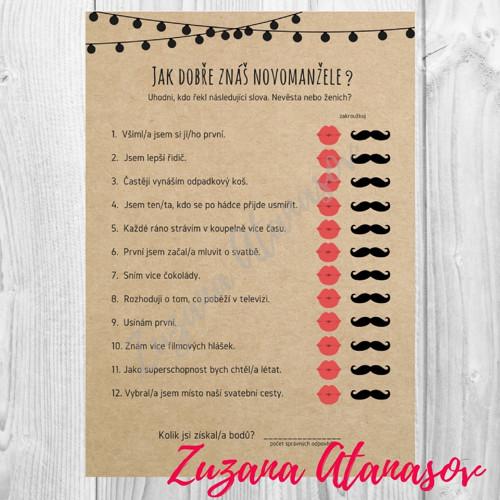 Znáte novomanžele? č. 1 - svatební zábava k tisku