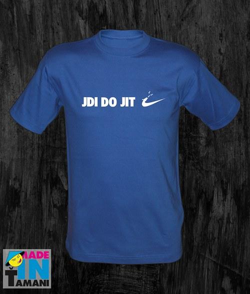 Pánské modré royal tričko Jdi dojit 02