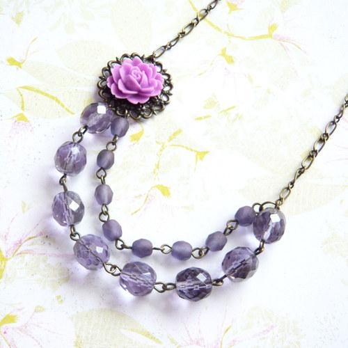 Náhrdelník květinový fialový