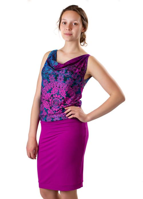 Šaty růžovofialové - voda