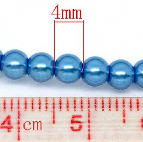 perly/ modrá/ 4mm/ 30ks