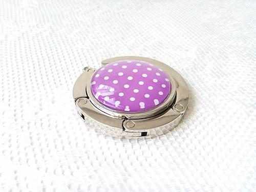 Retro bag holder (violet/mini white dots)