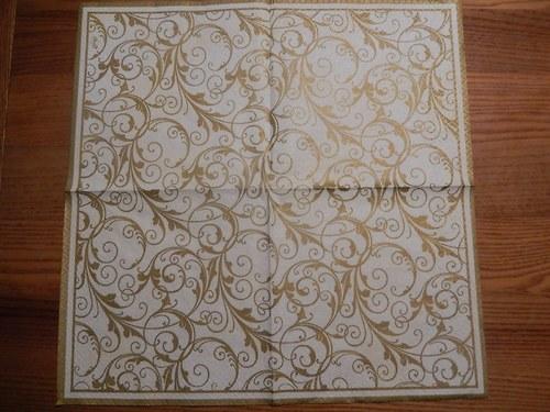 Ubrousek na decoupage - zlaté ornamenty
