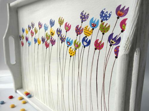 záložní padák velký - bílý s tulipány