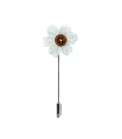 Saténová květina do klopy bílá