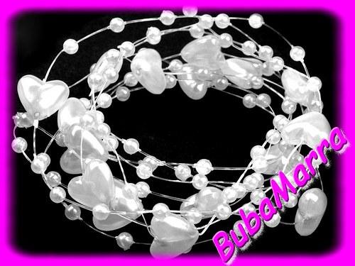 ~Perličky na silonu~ svatební srdíčka Ø10 ~ bílá