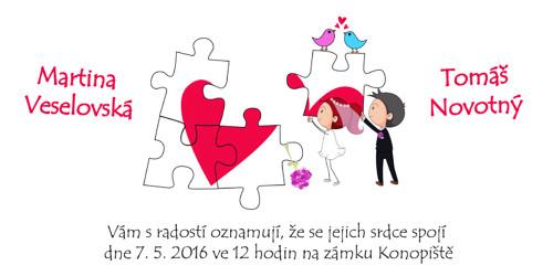 Svatební oznámení - Puzzle na přání - sada