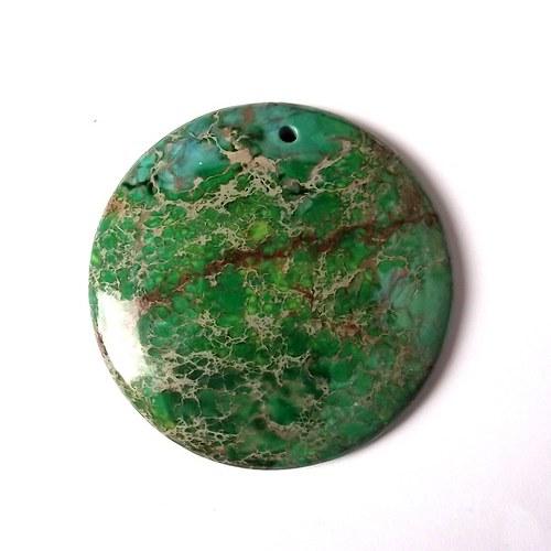 Variscit - zelený kabošon vrtaný - 4x4x0,4