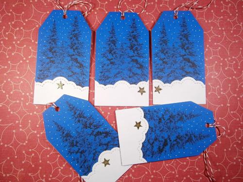 Vánoční visačky - sněží!!!!! ( modré )