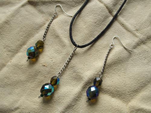 Korálky 24 - náušnice + náhrdelník