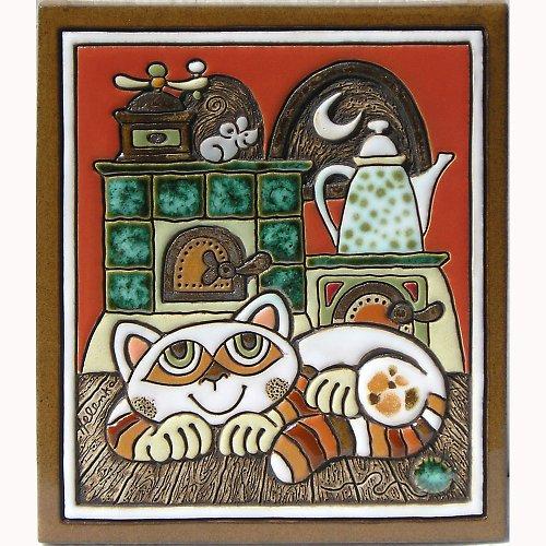 Keramický obrázek - Kočka a pec K-134-L