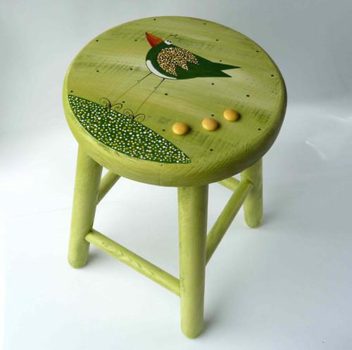dřevěná stolička - zelená s Karlíkem slavíkem
