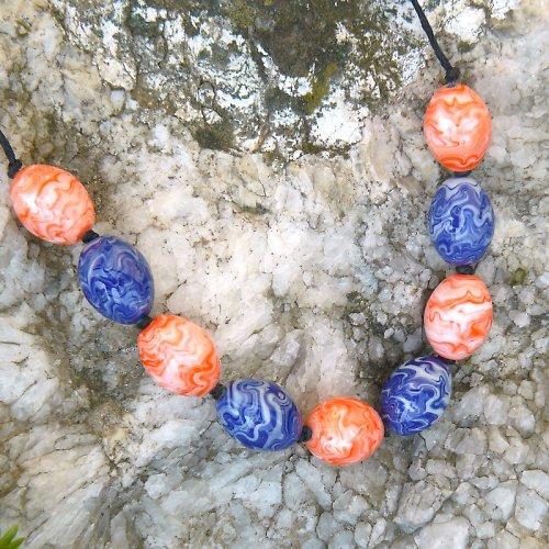 Náhrdelník - barevné olivy - vinuté perle