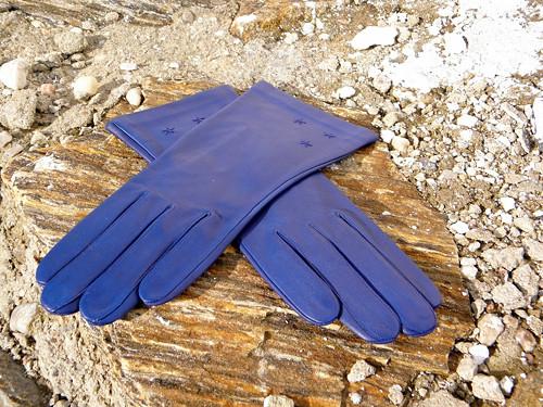 Modré kožené rukavice s hedvábnou podšívkou