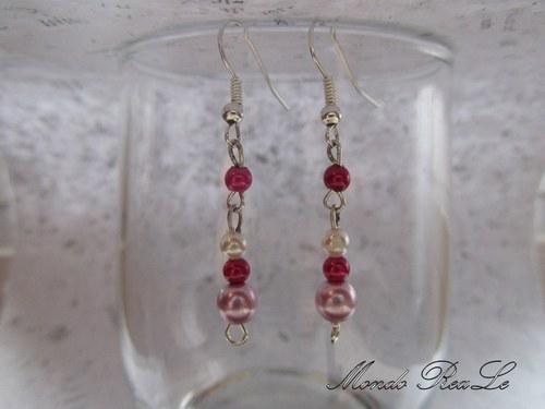 Náušnice -  růžové perličky