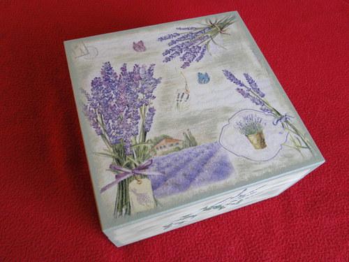 čajová krabice, šperkovnice levandulová