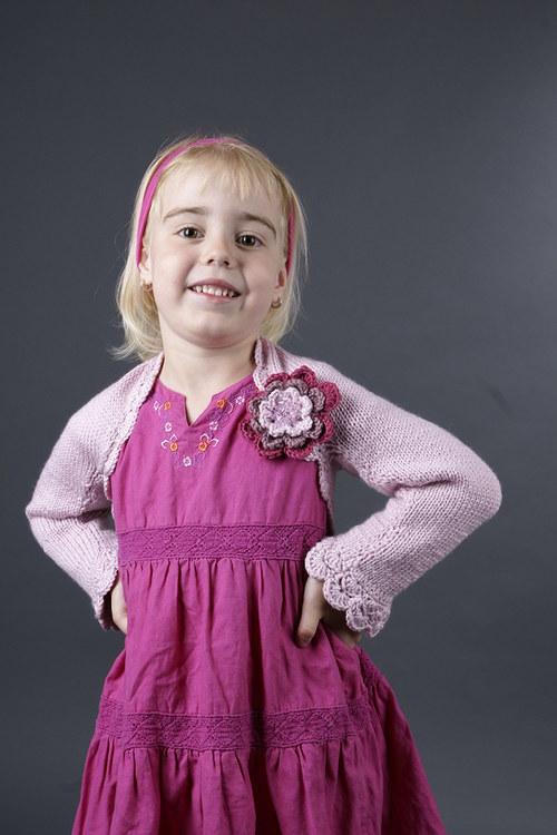 Popis - návod na pletený dětský shrug Princess