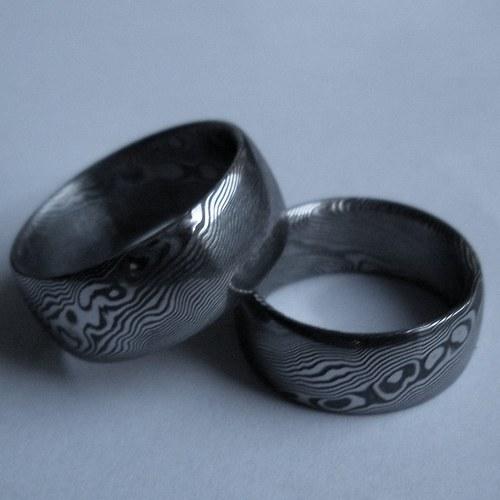 Prsteny snubní z damasteelu