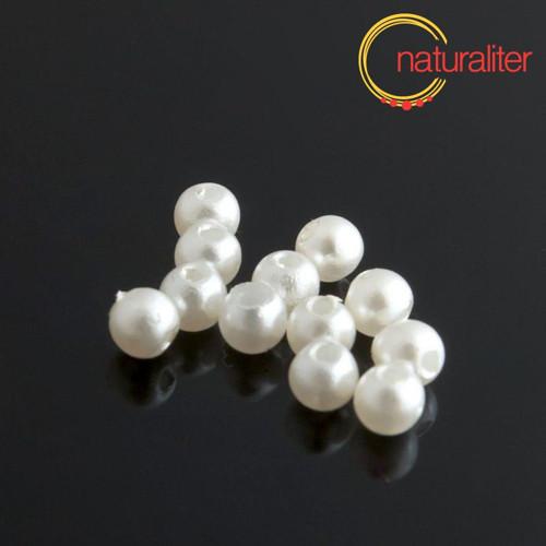 Voskované perly, bílé, 4mm, 100ks
