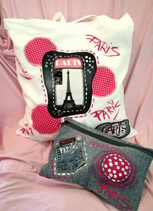 PAŘÍŽ - plátěná taška s riflovou kapsičkou