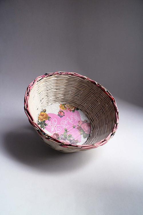 Košík papírový - Bílý | Růžový | LOVE