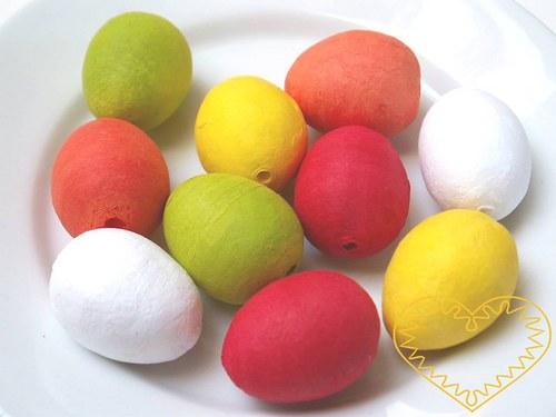 Barevná vatová vajíčka 38 x 29 mm - sada 8 kusů