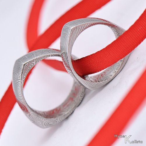 Kovaný prsten damasteel  - DELTA