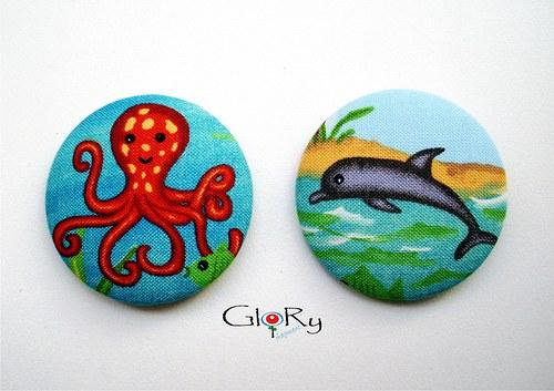 """BUTTONKY ,,chobotnice & delfín\"""""""