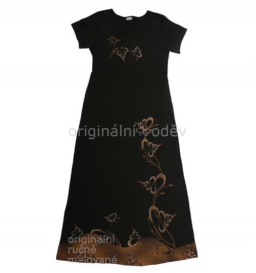 Malované šaty - kličky - černé