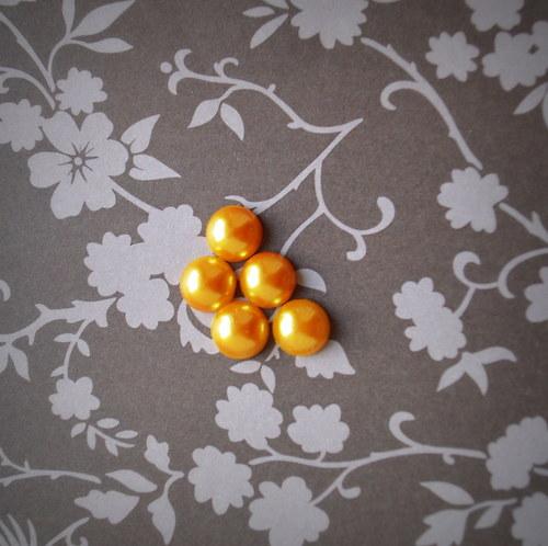 Sada 5 kusů perlových kabošonů -  žlutá