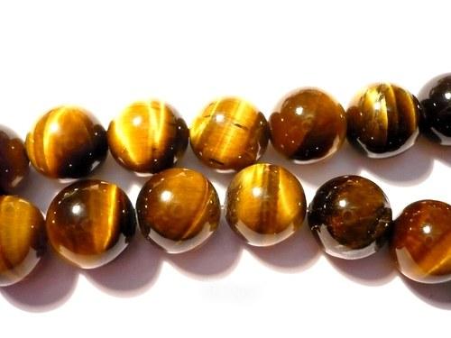 Vrtané kuličky 6 mm - tygří oko. 2 ks