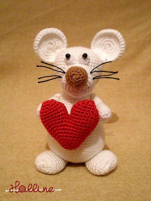 Návod: Háčkovaný zamilovaný myšák