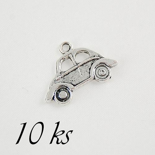 Autíčko, stříbrná barva - 10ks