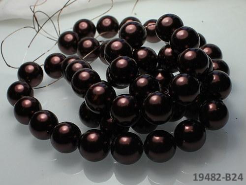 19482-B24 Voskované perly 16mm HNĚDÉ, bal. 2ks