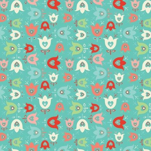 Látka Folklore tyrkysová s květinkami
