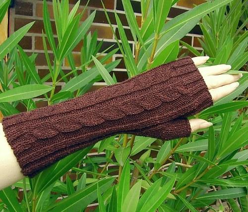 Pletené návleky na ruce - hnědé