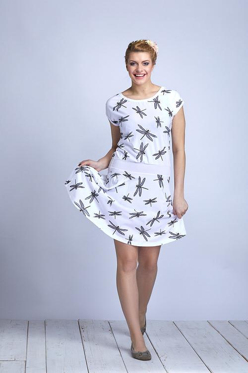 Dress Wheeled White/Black Dragonfly