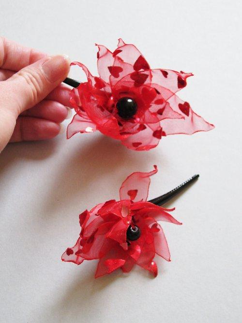 Červenočerné  Valentýnské sponečky