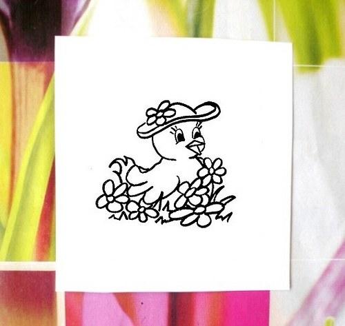Kuřátko s kloboukem... Omyvatelné razítko.