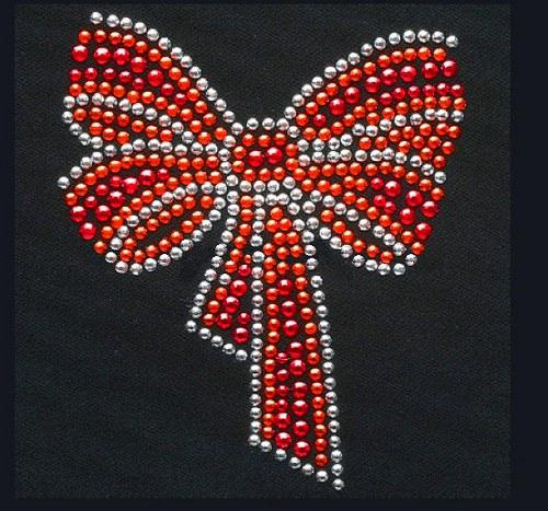 Mašle - Štrasový nažehlovací motiv, kamínky