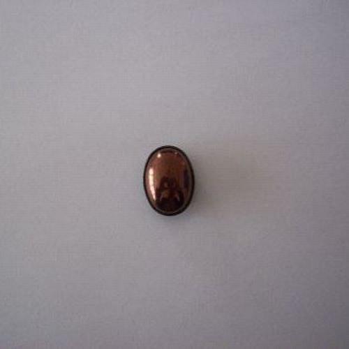 Skleněný kabošon v kotliku 3 dirky - tmavý bronz