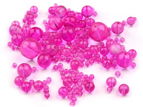 Korálky sklo mix 4-18mm - růžové (95gr)