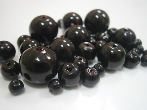 Voskované perly skleněné cca 4-12mm (20g)